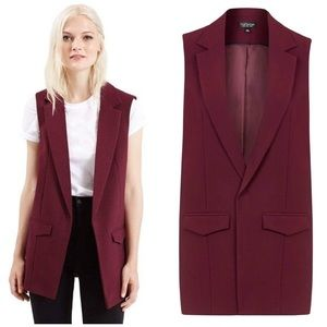 Topshop Holly Sleeveless Jacket in Maroon Red